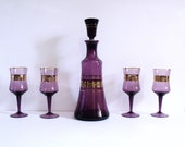 Vintage barware decanter and glasses, amethyst purple with gold trim, mid century modern liquor service