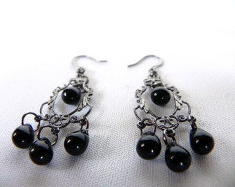 Earrings Neo-Victorian Metals Steampunk Victorian Earrings with Black Glass Teardrops Now On Sale!