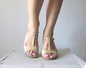 SALE Vintage Salvatore Ferragamo Sandals // 1980s Beige T-Strap Heels // 6, 6.5
