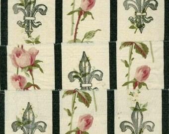 "Black vintage FLEUR DE LIS rose french chic muslin ribbon handmade 3"" wide . ..8 551 . ....oohlala"