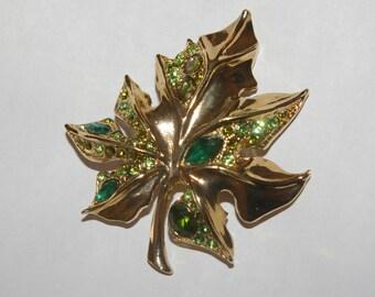 Green Rhinestone Brooch,  Gold Tone Leaf,  Vintage 1970s