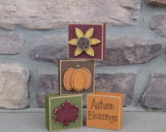 4 BLOCK Autumn Blessings FALL SET for desk, shelf, mantle, holiday, Autumn decor, office decor,  home decor
