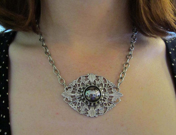 REPURPOSED SILVERTONE NECKLACE, Pendant with Flowers and Unique Cabachon, Upcycled from Brooch, Wear up to 16& 1/2 inches