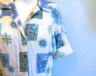 vintage. 50s Blue Print Cotton Dress // M L