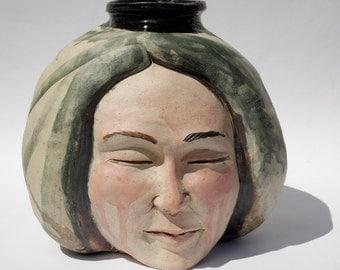 Ceramic Face Vase Sculpture Ikebana Pot Sphere Storage Jar Flaw Discount Sale