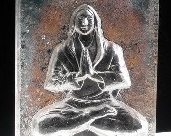 Cast Glass Art Buddha Woman Yoga Sculpture, May All Beings Be Happy, Metta Meditation, Lotus Posture Padmasana Crystal Prism