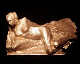 Nude Figure Metal Sculpture, Erotic Art, Lost Wax Aluminum Cast Statue of a Woman Reclining, Mature