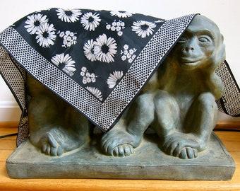 1960s Robinson Golluber Scarf Mod Vintage Black Tan Daisy Flowers Polka Dots Border Hand Sewn Rolled Edges Signed Striking Contrast Design