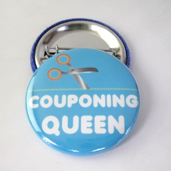 Couponing Queen 1 1/2 inches (38mm) Photo Pinback Button or Magnet