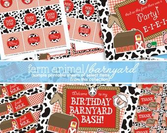 Barnyard Birthday Decorations - Farm Birthday Party - Farm Party Decorations - Farm Party Printables - PRINTABLE, INSTANT DOWNLOAD