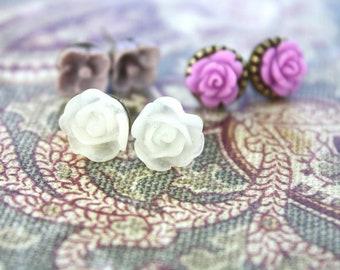 Flower earrings - three pairs