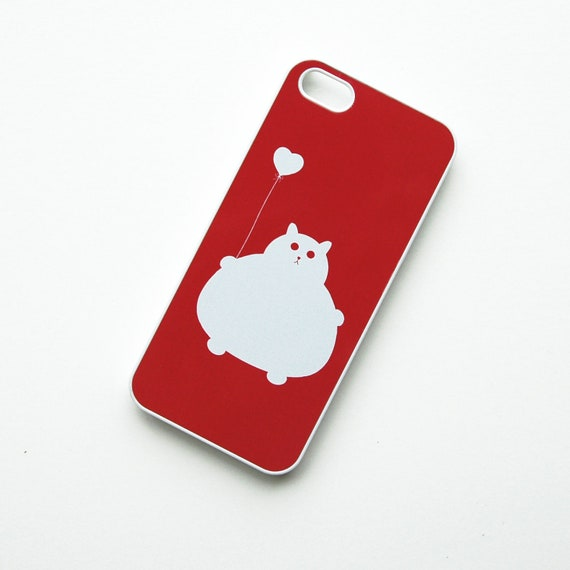 iPhone 5, 5s case Fat Kitty Cat White and Red with Heart Balloon