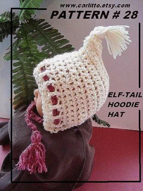 Crochet Hoodie Hat Free Pattern : crochet pattern hat, Number 28, ELF TAILED HOODIE Hat ...