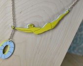 Lucky Diver Lady Necklace- Laser Cut, Hand Painted with Sterling Silver Chain