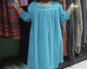 Little Angel...3/4 Sleeve Square Collar Double Gauze Cotton Dress Hand Dyed In Azo Free Blue