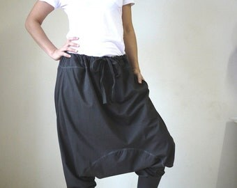 Dark Charcoal Cotton Jersey Funky Drop Crotch Harem Ninja Pants Trousers With Adjustable Drawstring Waist