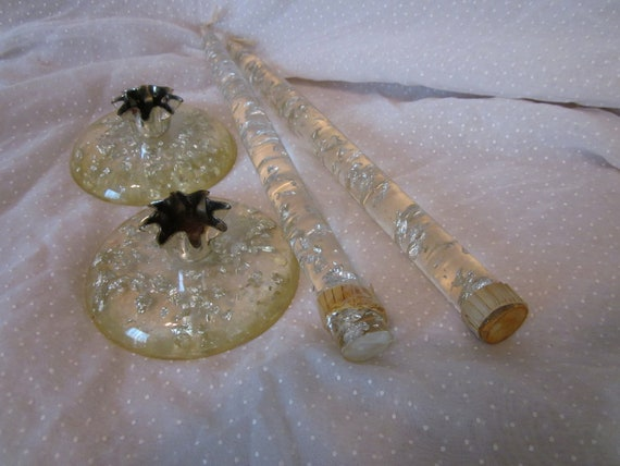 Pair Of Lucite Acrylic Taper Candles And Holders Clear With