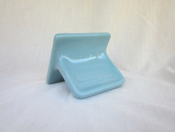 Vintage Country Blue Ceramic Tile Wall Soap Dish By Gilmer