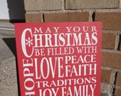 CHRISTMAS Sign/Christmas Decor/Home Decor/Wood Sign/Red/Primitive Decor/Shelf Sitter/12 x 12/Country Decor/Rustic Decor