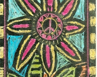 Hippie Art, Original ACEO, Peace Flower, peace love and happiness,  give art!