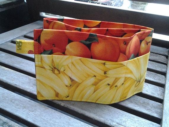 24 inch / 7 pockets Purse / Bag Organizer Insert - (medium) banana and peaches print fabric