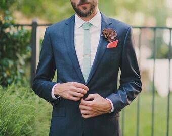 FOREVER Hand Engraved Vintage Brass Skinny Tie Clip