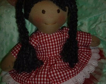 15 inch Waldorf doll with red gingham dress and  tutu skirt