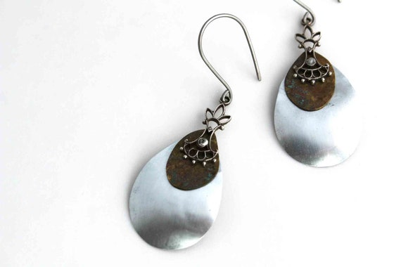 Drops earrings - Rain drops - upcycled vintage assemblage - one of a kind
