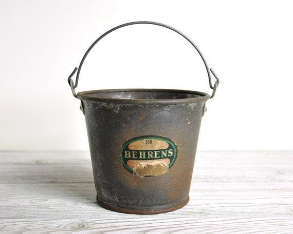 Vintage small metal bucket industrial decor for Old metal buckets
