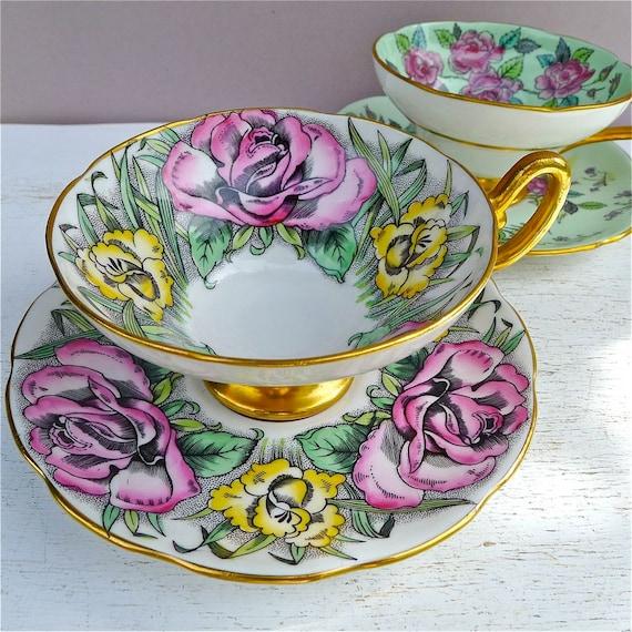 Vintage Taylor & Kent Floral Tea Cups and Saucers Pair