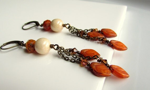 Falling Leaves, Pumpkin Spice Orange Czech Glass and Antiqued Brass Chain Drop Earrings
