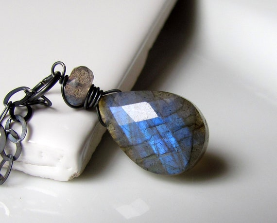 Labradorite Necklace, AAA Blue Fire Stone Pendant, Oxidized Sterling Silver Wire Wrapped