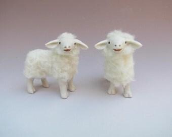 "Bottlefed Lamb Figures in Porcelain and Wool, Handcarved.   2 1/2""      S"
