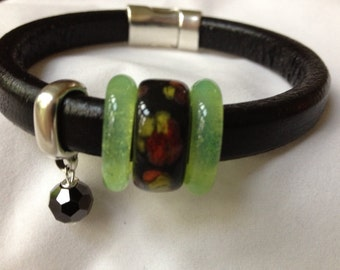 Black Leather Bracelet with Ceramic and Glass Accent Beads