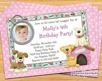 Puppy Dog Birthday Party Invitation -  Printable