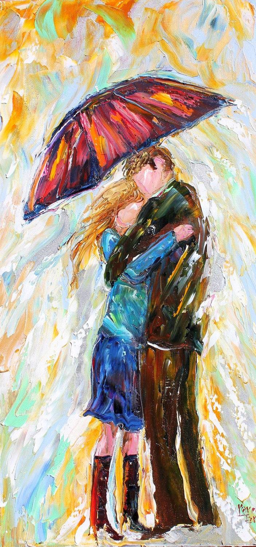Original oil painting umbrella rain couple modern for Peinture mural original