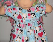 Flannel Nightgown  made to fit Waldorf style dolls 9-10 inches