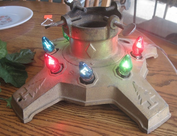 1930s Cast Iron Christmas Tree Stand With Electric Lights