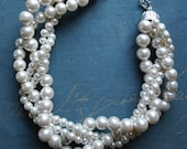 Cream Chunky Pearl-4 Strand- Twisted Statement Necklace