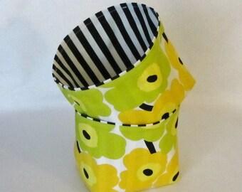 Marimekko fabric basket, storage bin in Mini Unikko in 5 colors, authentic Marimekko fabric from Finland, Hostess Gift
