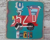 License Plate Art - Navy Red Funky Transportation Train Adventure Boys Nursery Room - Recycled Art Company - Wood - Upcycled Artwork