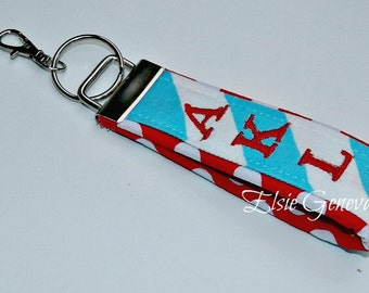 Choose Any Fabric in My Shop or Aqua Chevron and Red and White Dots Personalized Key Fob Chain Wristlet