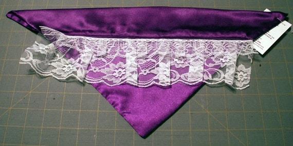 Purple Satin with Lace Handmade Formal Dog Bandana