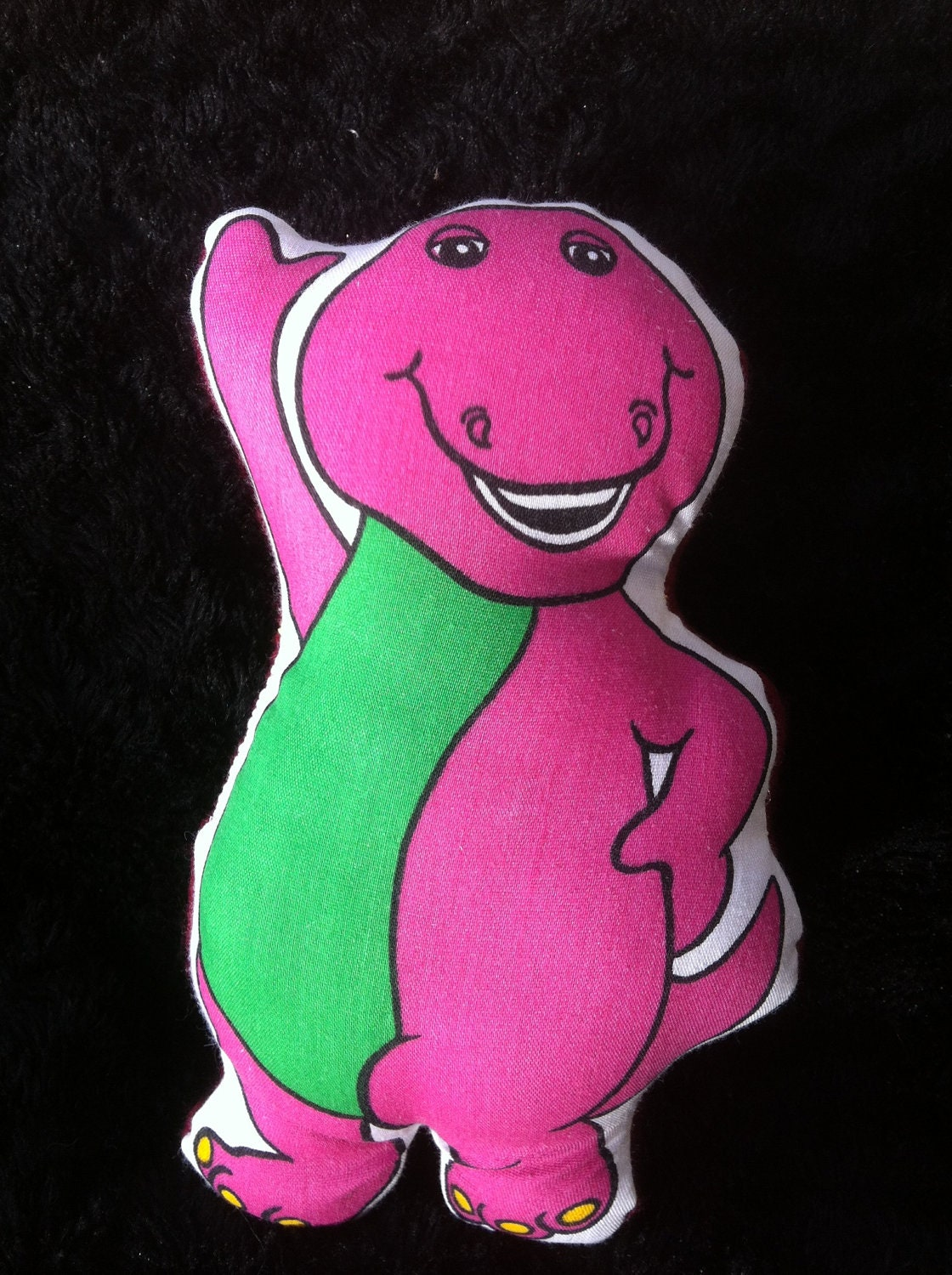 Stuffed toy purple dinosaur printed barney fabric for Purple dinosaur fabric