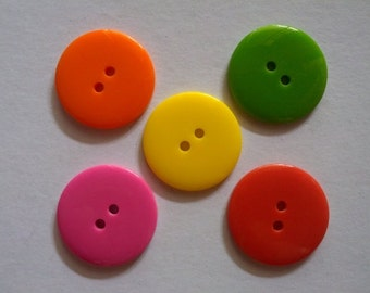 25 pcs Plain Buttons 25mm Mix color