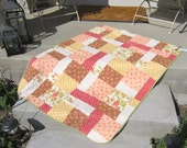 Shabby Chic Baby Girl Crib or Lap Quilt with Rounded Edges