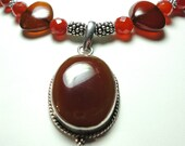 Red Carnelian Cabochon Pendant and Hearts Necklace with Sterling