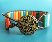 Paper Bead Leather Wrap Bracelet - Upcycled Recycled and Eco