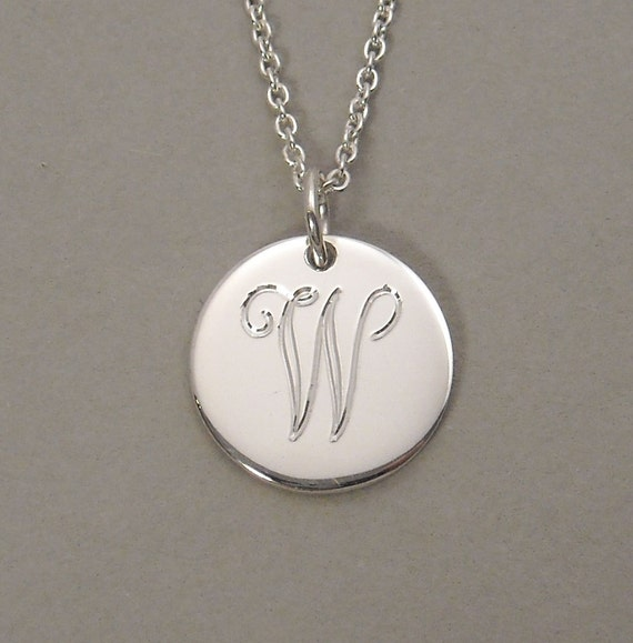 Letter W initial necklace monogrammed pendant personalized sterling silver 1/2 inch round circle disc charm UDLS