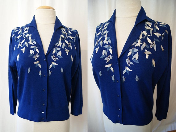 Darling 1950's royal blue knit cardigan sweater top with hand embroidered details made in Italy pin up sweater girl - size Large to XL